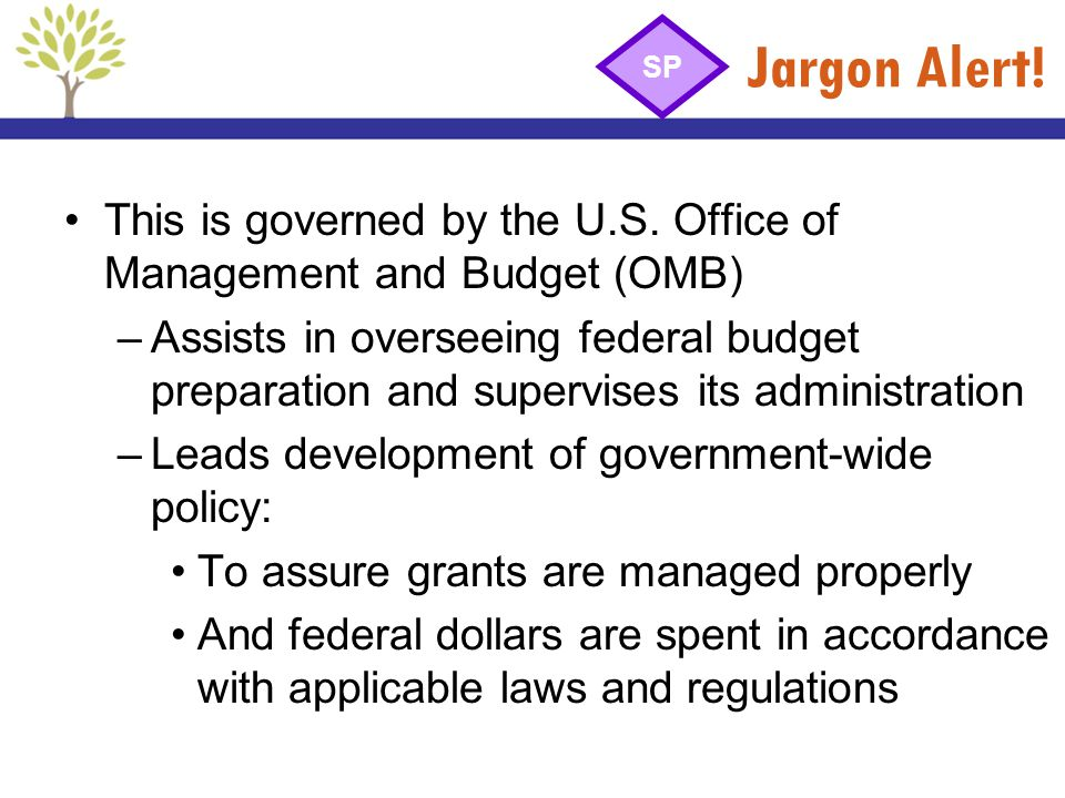 Jargon Alert! This is governed by the U.S. Office of Management and Budget (OMB) –Assists in overseeing federal budget preparation and supervises its