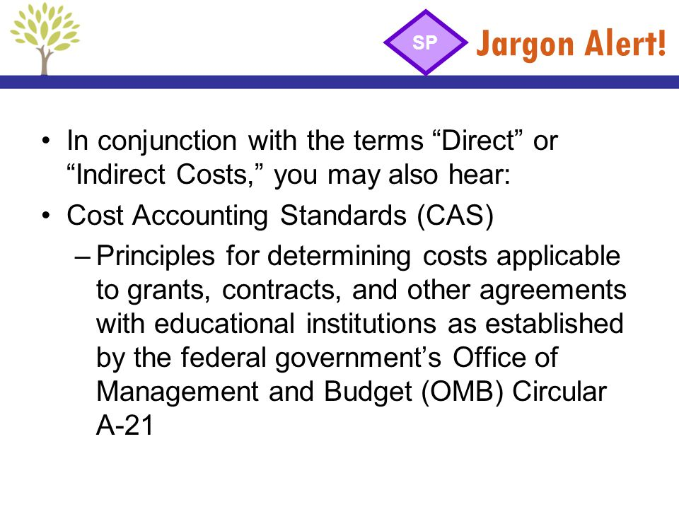 Jargon Alert! In conjunction with the terms Direct or Indirect Costs, you may also hear: Cost Accounting Standards (CAS) –Principles for determining c