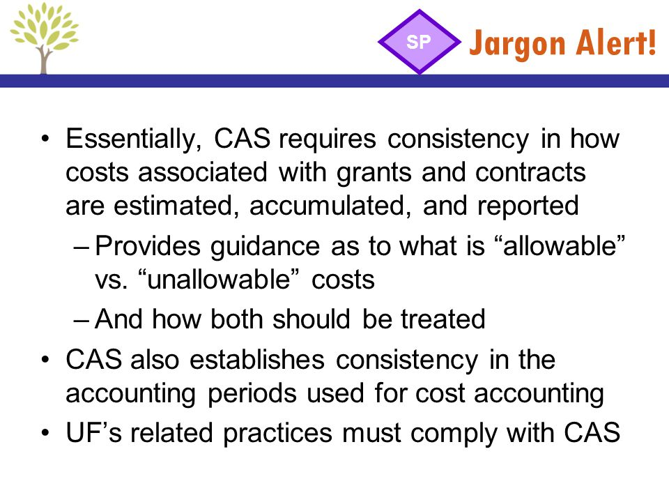 Jargon Alert! Essentially, CAS requires consistency in how costs associated with grants and contracts are estimated, accumulated, and reported –Provid