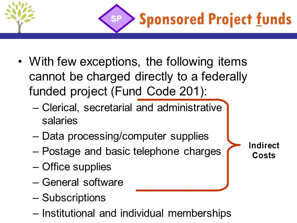Sponsored Project funds With few exceptions, the following items cannot be charged directly to a federally funded project (Fund Code 201): –Clerical,