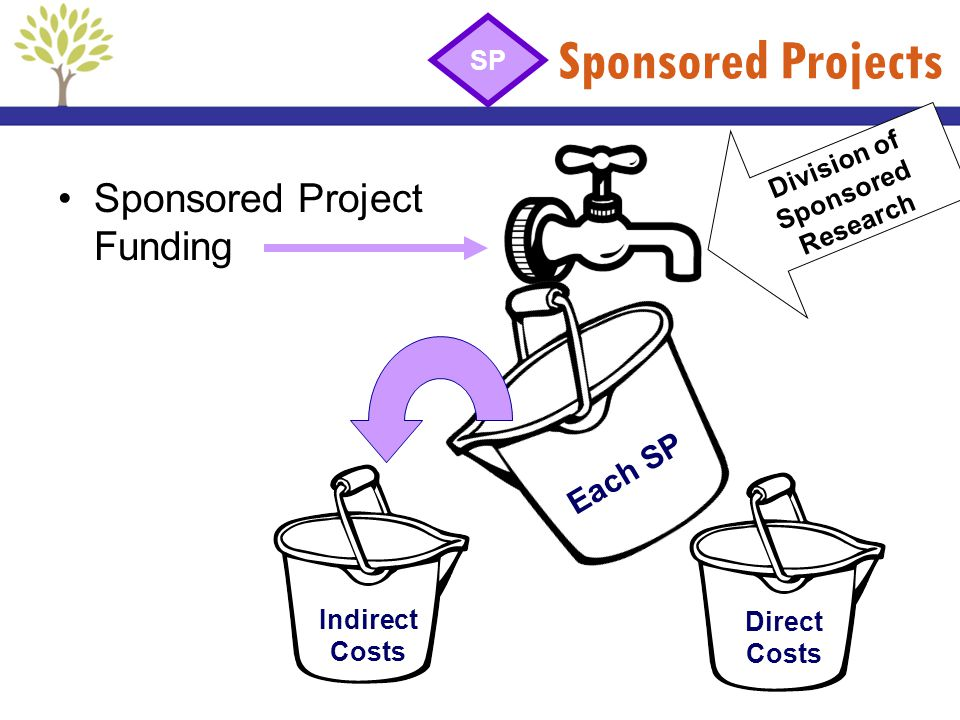 Sponsored Projects Sponsored Project Funding Each SP Direct Costs Division of Sponsored Research SP Indirect Costs