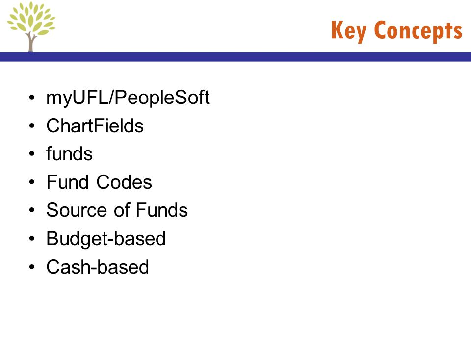 Key Concepts myUFL/PeopleSoft ChartFields funds Fund Codes Source of Funds Budget-based Cash-based