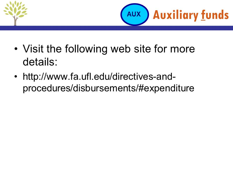 Auxiliary funds Visit the following web site for more details: http://www.fa.ufl.edu/directives-and- procedures/disbursements/#expenditure AUX