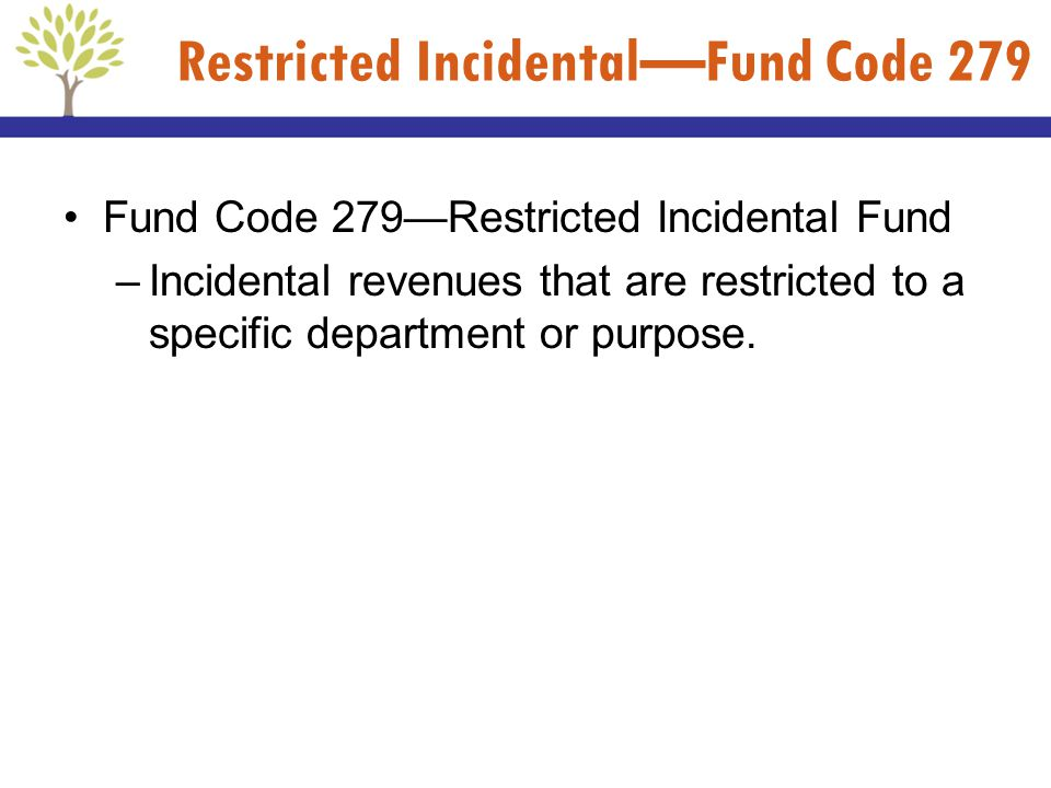 Fund Code 279Restricted Incidental Fund –Incidental revenues that are restricted to a specific department or purpose. Restricted IncidentalFund Code 2