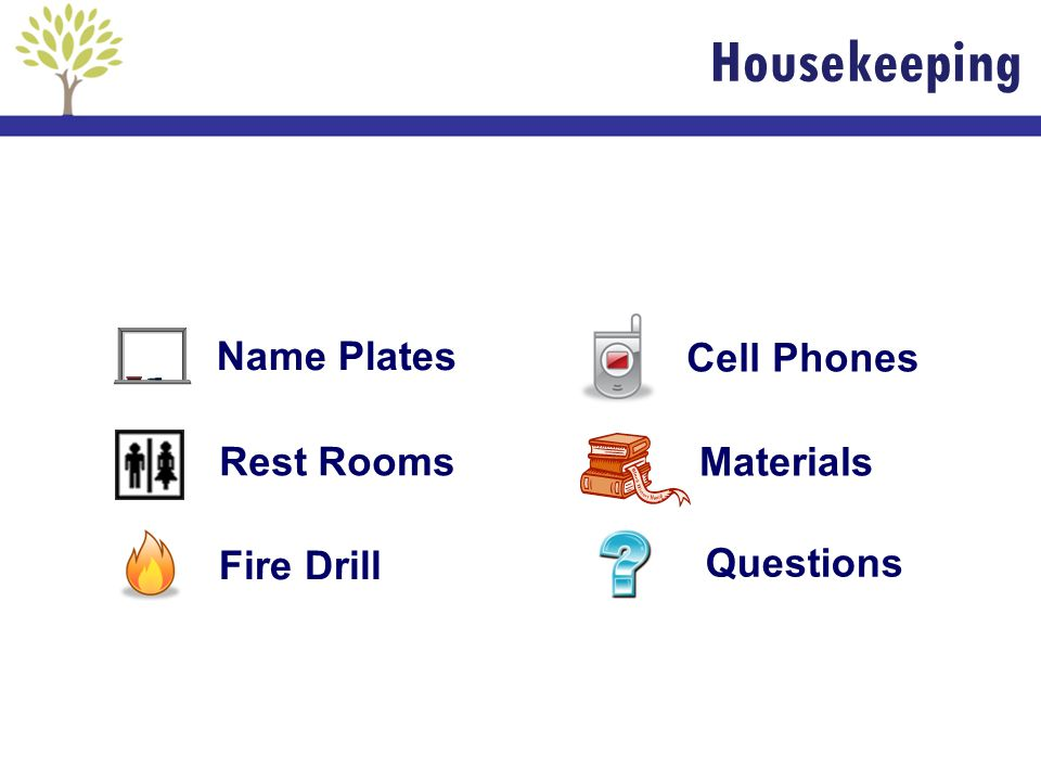 Materials Rest Rooms Cell Phones Questions Fire Drill Name Plates Housekeeping