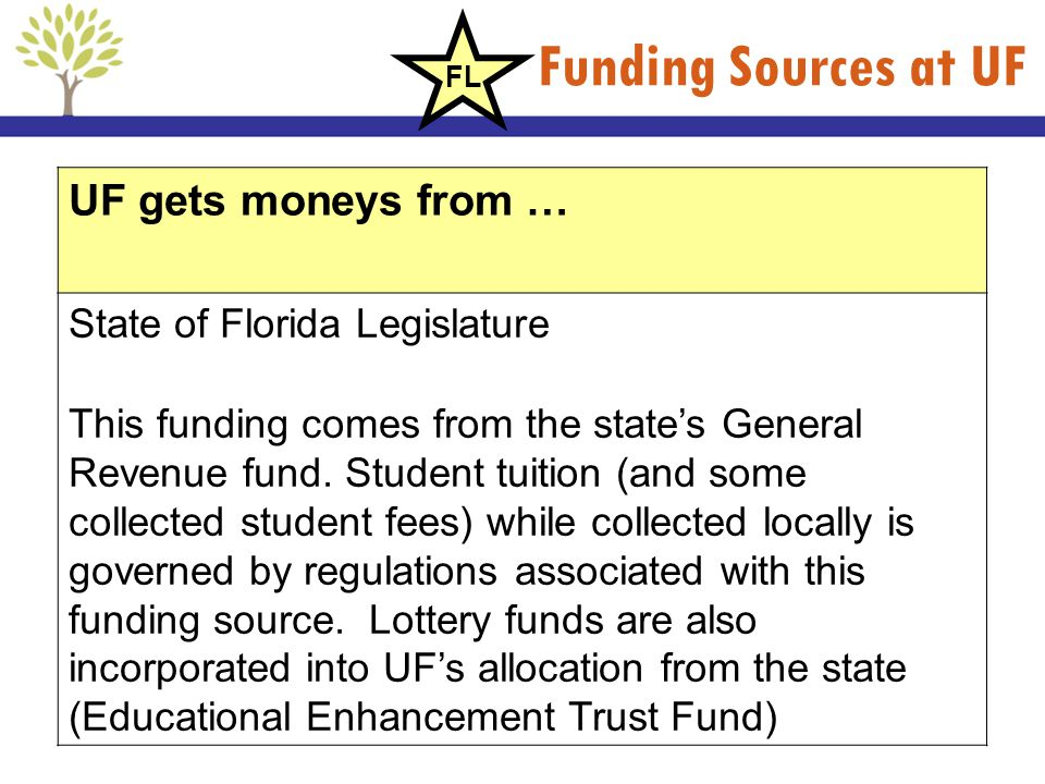 Funding Sources at UF UF gets moneys from … State of Florida Legislature This funding comes from the states General Revenue fund. Student tuition (and