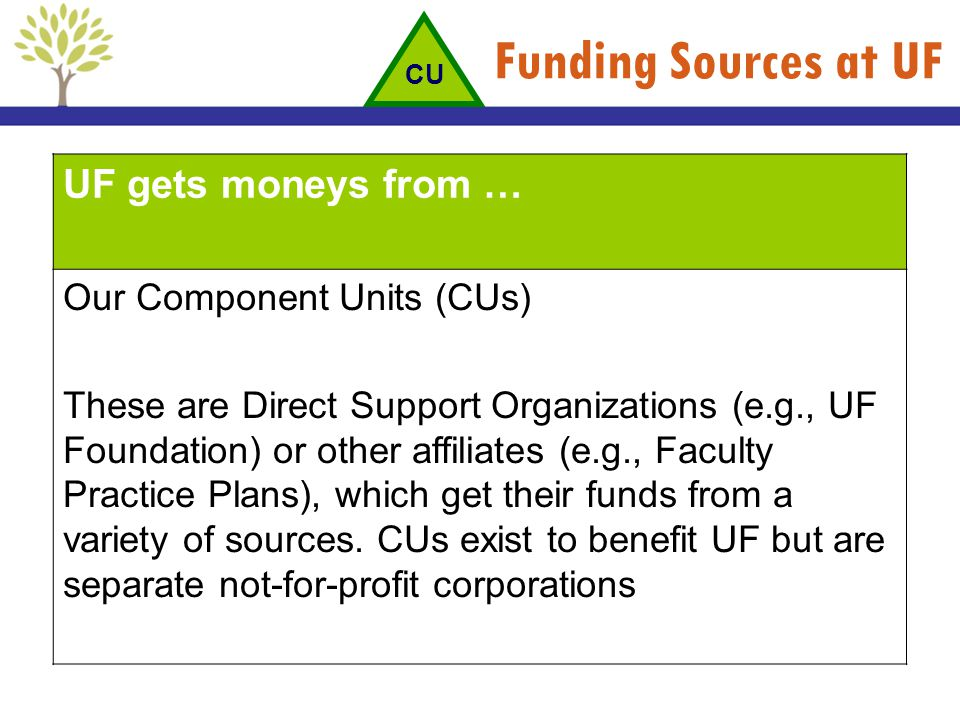 Funding Sources at UF UF gets moneys from … Our Component Units (CUs) These are Direct Support Organizations (e.g., UF Foundation) or other affiliates