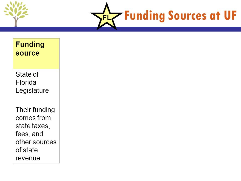 Funding Sources at UF Funding source State of Florida Legislature Their funding comes from state taxes, fees, and other sources of state revenue FL
