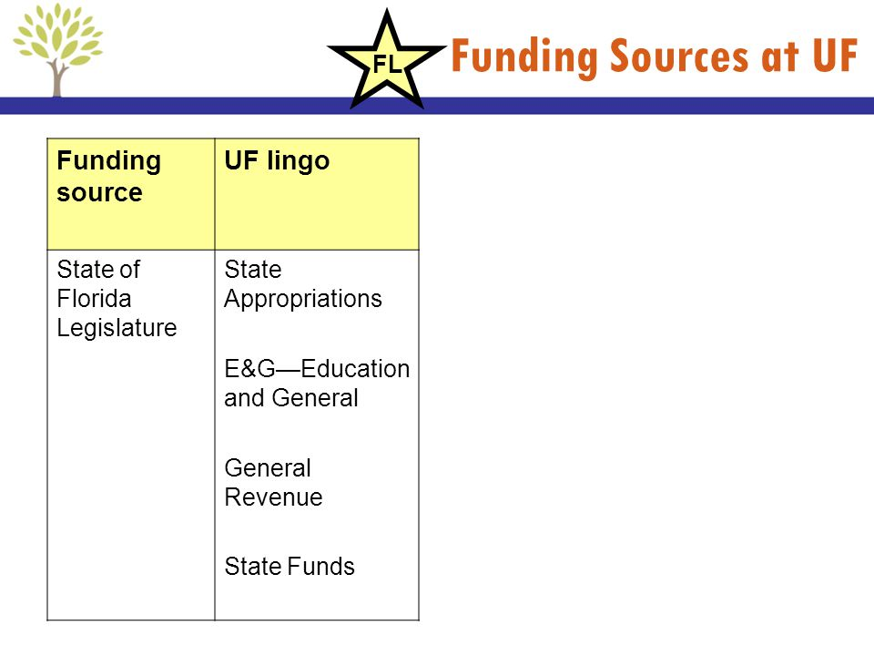 Funding Sources at UF Funding source UF lingo State of Florida Legislature State Appropriations E&GEducation and General General Revenue State Funds F