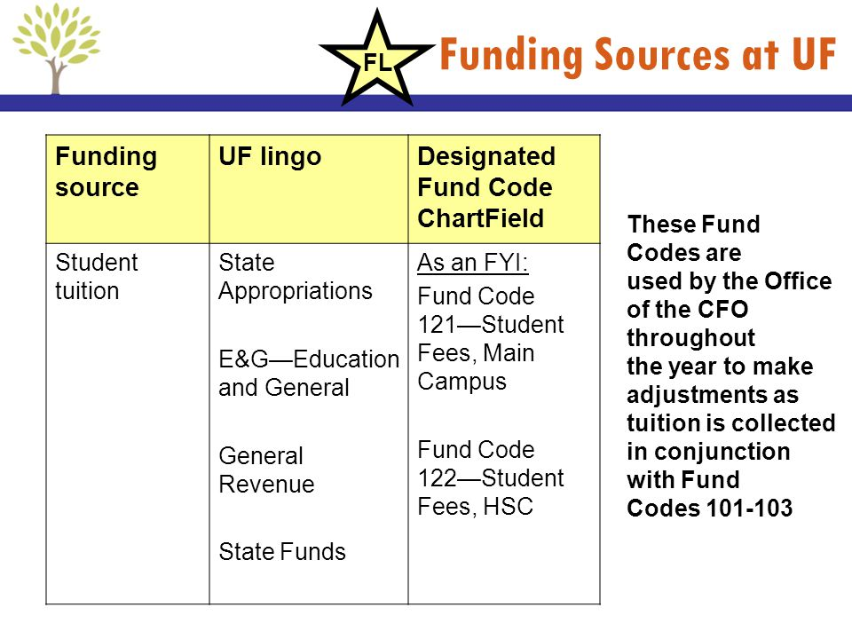 Funding Sources at UF Funding source UF lingoDesignated Fund Code ChartField Student tuition State Appropriations E&GEducation and General General Rev