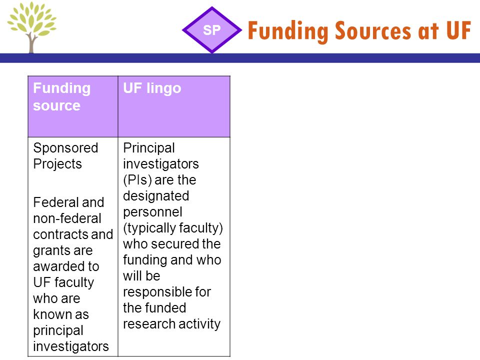 Funding Sources at UF Funding source UF lingo Sponsored Projects Federal and non-federal contracts and grants are awarded to UF faculty who are known