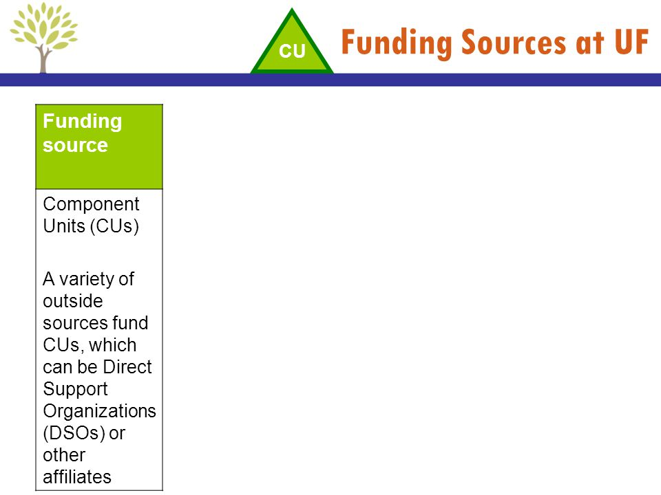 Funding Sources at UF Funding source Component Units (CUs) A variety of outside sources fund CUs, which can be Direct Support Organizations (DSOs) or