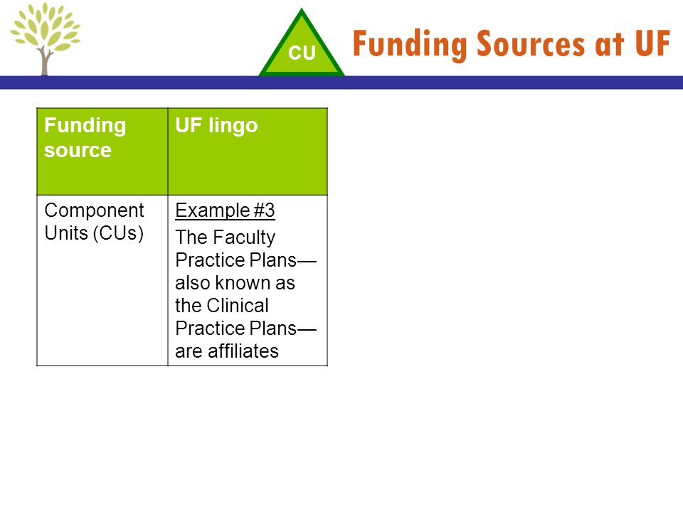 Funding Sources at UF Funding source UF lingo Component Units (CUs) Example #3 The Faculty Practice Plans also known as the Clinical Practice Plans ar