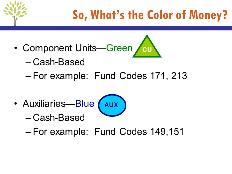 So, Whats the Color of Money? Component UnitsGreen –Cash-Based –For example: Fund Codes 171, 213 AuxiliariesBlue –Cash-Based –For example: Fund Codes
