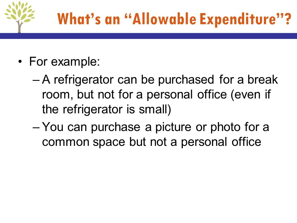 Whats an Allowable Expenditure? For example: –A refrigerator can be purchased for a break room, but not for a personal office (even if the refrigerato