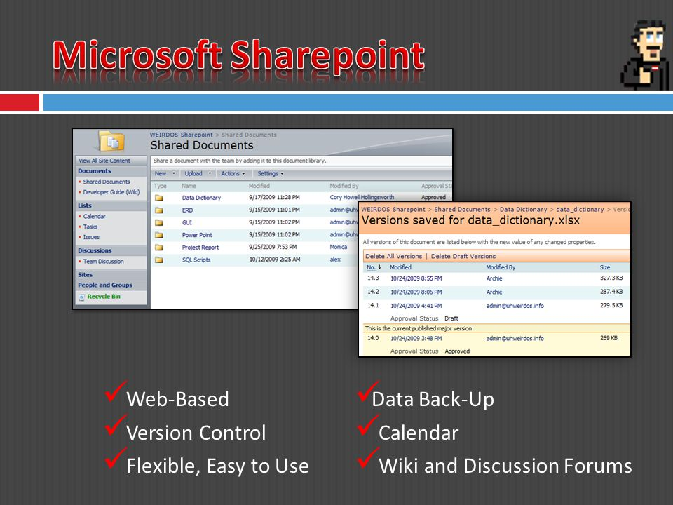 Web-Based Version Control Flexible, Easy to Use Data Back-Up Calendar Wiki and Discussion Forums