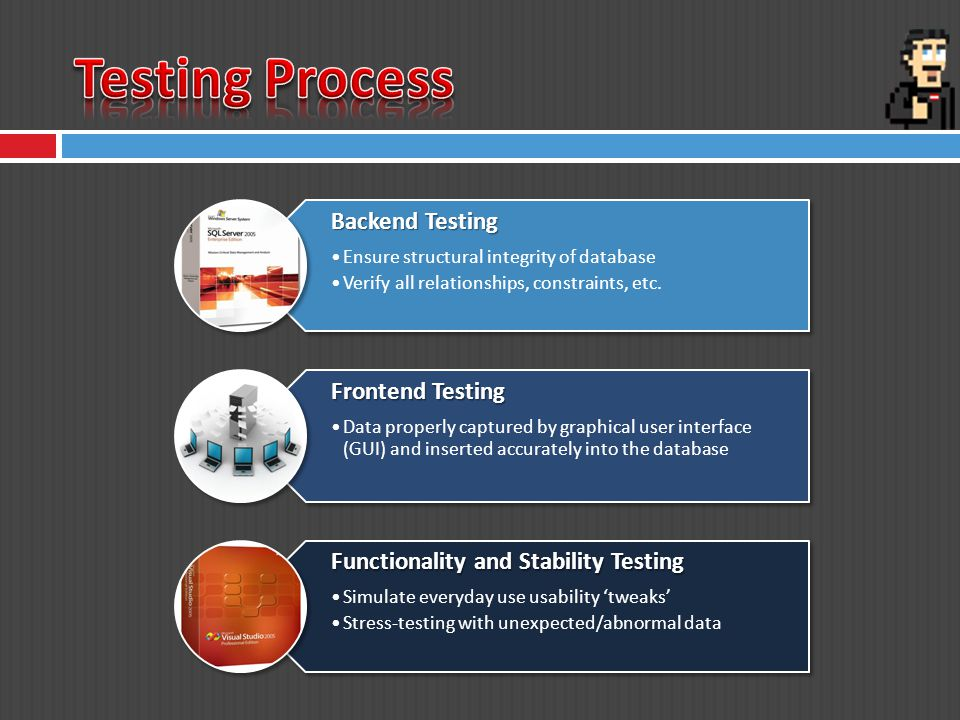 Backend Testing Ensure structural integrity of database Verify all relationships, constraints, etc.