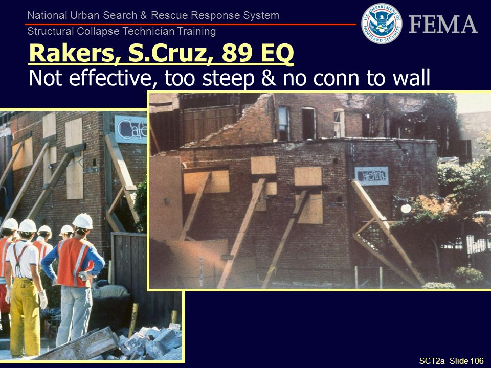 SCT2a Slide 106 National Urban Search & Rescue Response System Structural Collapse Technician Training Rakers, S.Cruz, 89 EQ Not effective, too steep