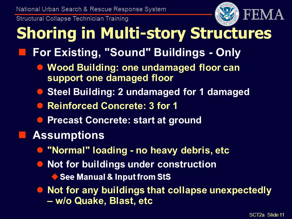 SCT2a Slide 11 National Urban Search & Rescue Response System Structural Collapse Technician Training Shoring in Multi-story Structures For Existing,