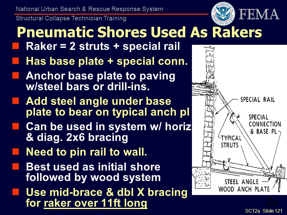 SCT2a Slide 121 National Urban Search & Rescue Response System Structural Collapse Technician Training Pneumatic Shores Used As Rakers Raker = 2 strut