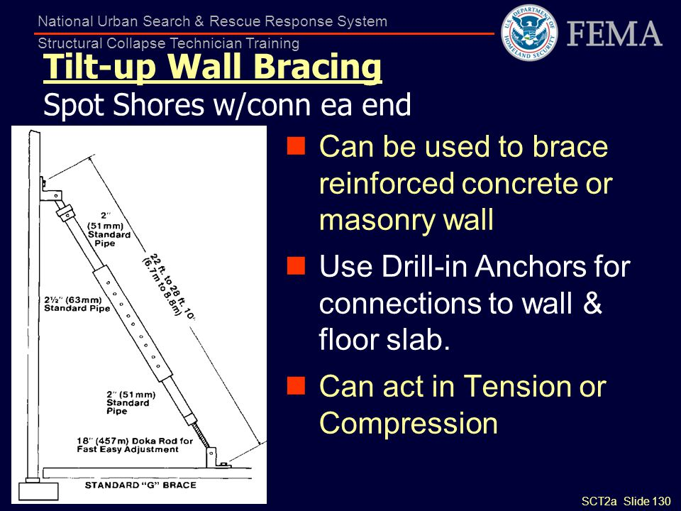 SCT2a Slide 130 National Urban Search & Rescue Response System Structural Collapse Technician Training Tilt-up Wall Bracing Spot Shores w/conn ea end