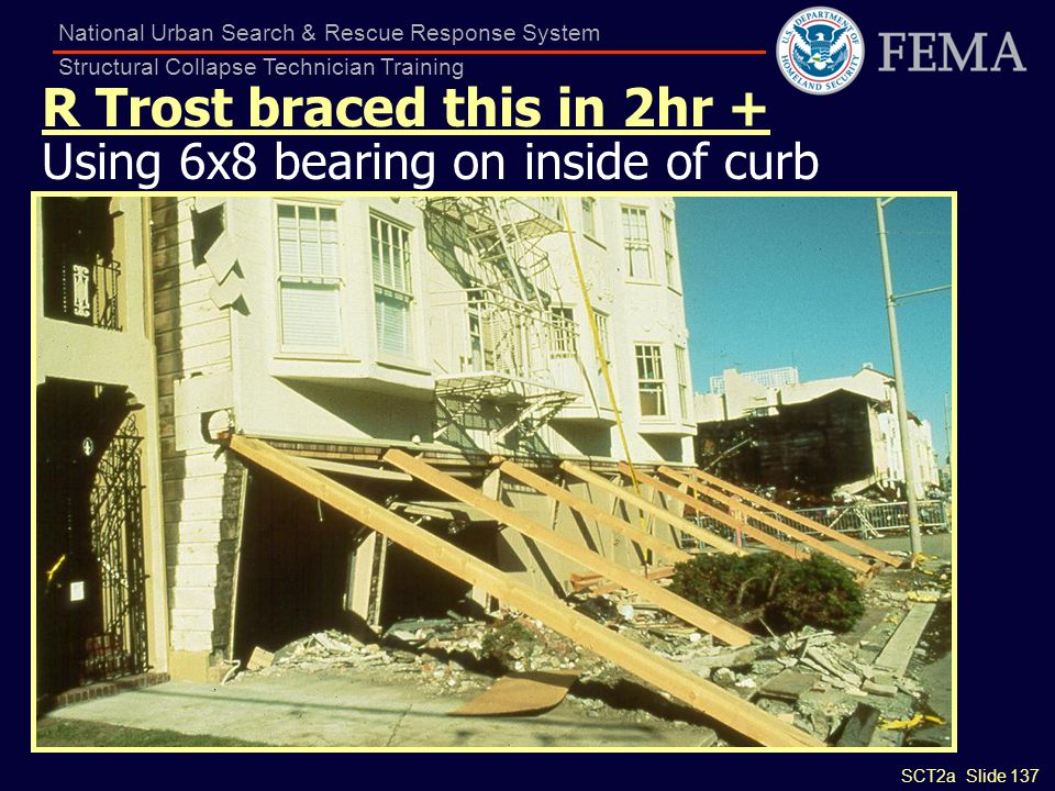 SCT2a Slide 137 National Urban Search & Rescue Response System Structural Collapse Technician Training R Trost braced this in 2hr + Using 6x8 bearing