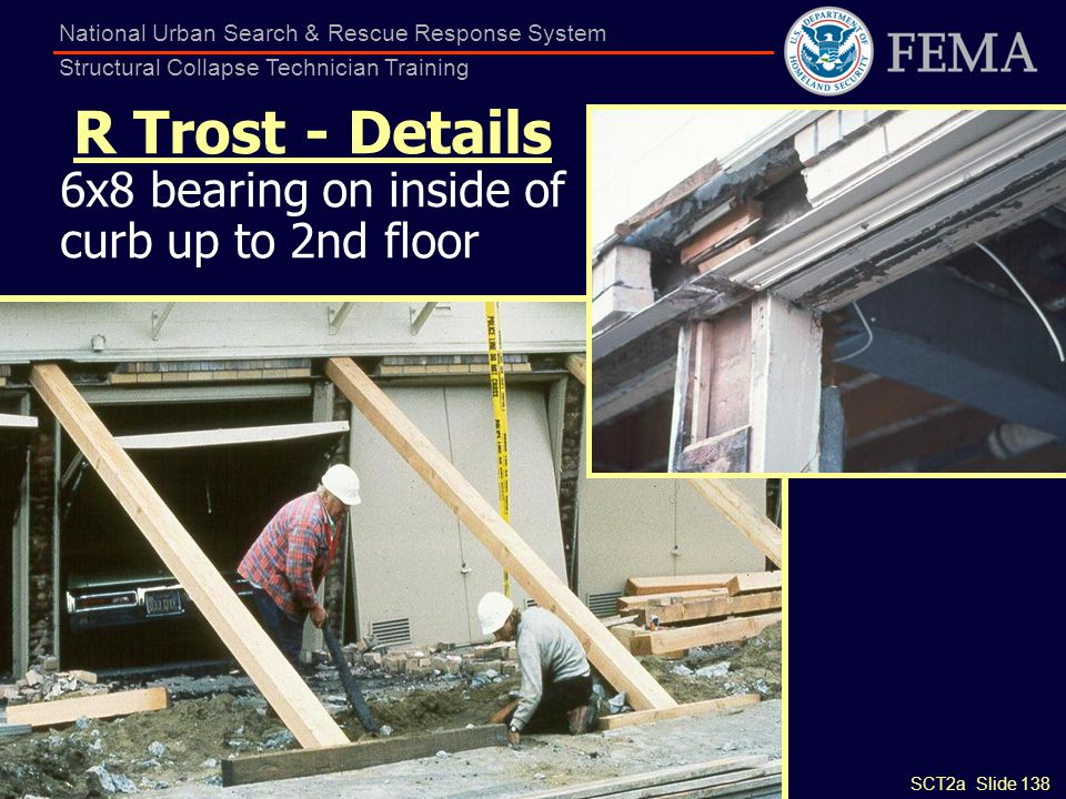 SCT2a Slide 138 National Urban Search & Rescue Response System Structural Collapse Technician Training R Trost - Details 6x8 bearing on inside of curb