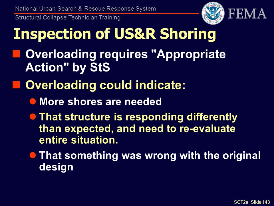 SCT2a Slide 143 National Urban Search & Rescue Response System Structural Collapse Technician Training Inspection of US&R Shoring Overloading requires