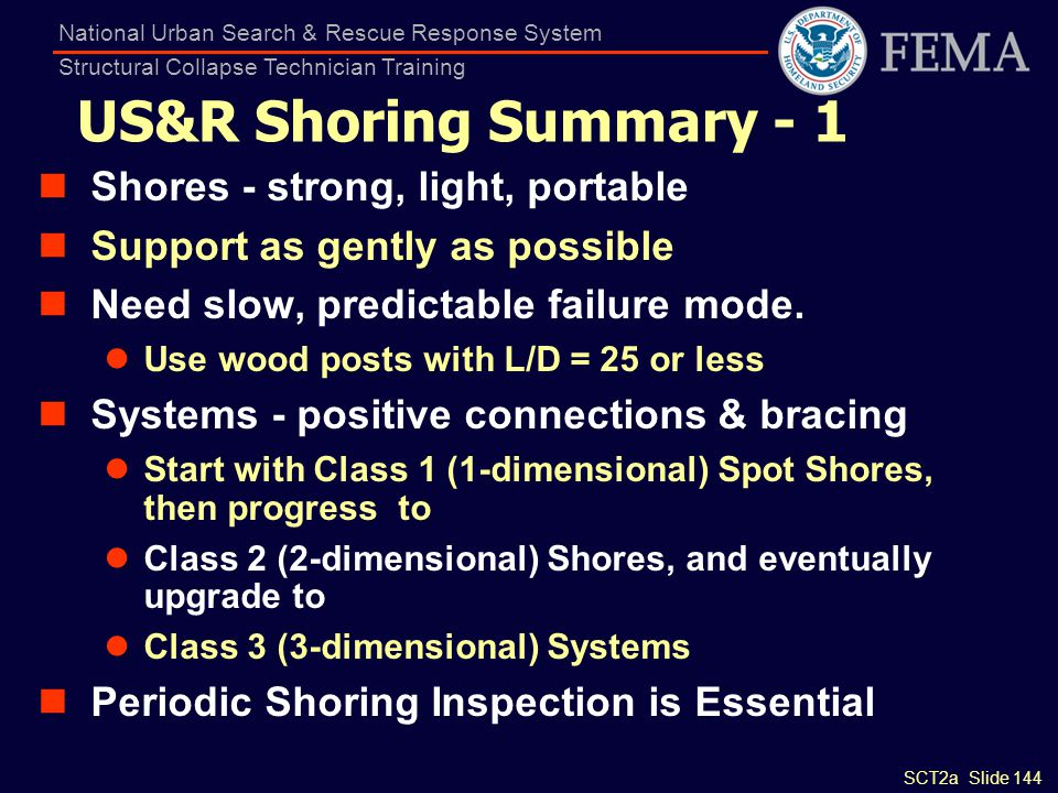 SCT2a Slide 144 National Urban Search & Rescue Response System Structural Collapse Technician Training US&R Shoring Summary - 1 Shores - strong, light