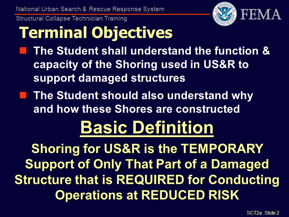 SCT2a Slide 2 National Urban Search & Rescue Response System Structural Collapse Technician Training Terminal Objectives The Student shall understand
