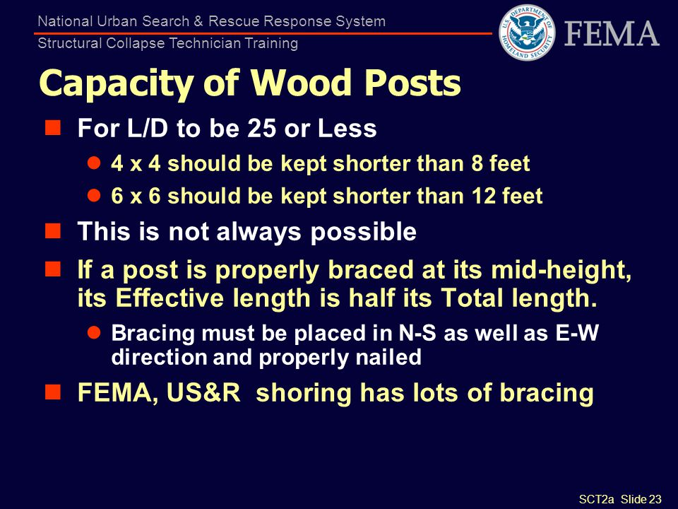 SCT2a Slide 23 National Urban Search & Rescue Response System Structural Collapse Technician Training Capacity of Wood Posts For L/D to be 25 or Less
