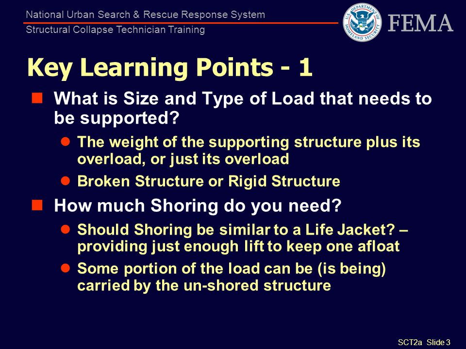 SCT2a Slide 3 National Urban Search & Rescue Response System Structural Collapse Technician Training Key Learning Points - 1 What is Size and Type of