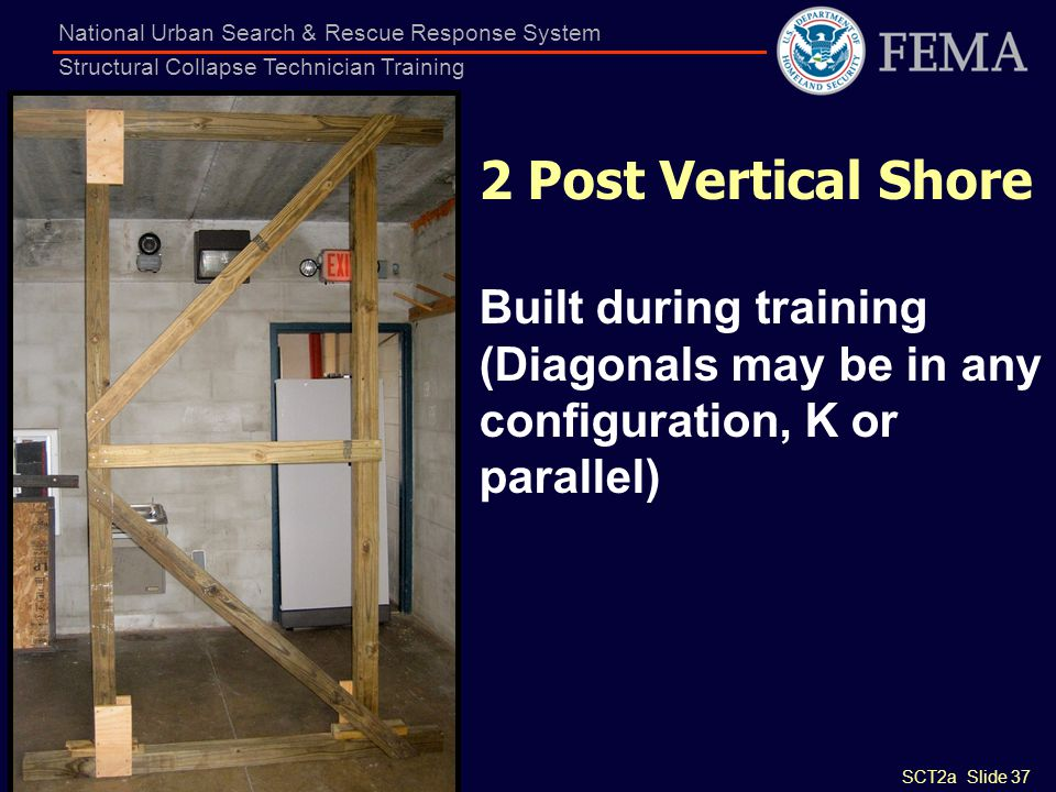 SCT2a Slide 37 National Urban Search & Rescue Response System Structural Collapse Technician Training 2 Post Vertical Shore Built during training (Dia