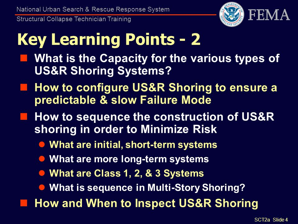 SCT2a Slide 4 National Urban Search & Rescue Response System Structural Collapse Technician Training Key Learning Points - 2 What is the Capacity for
