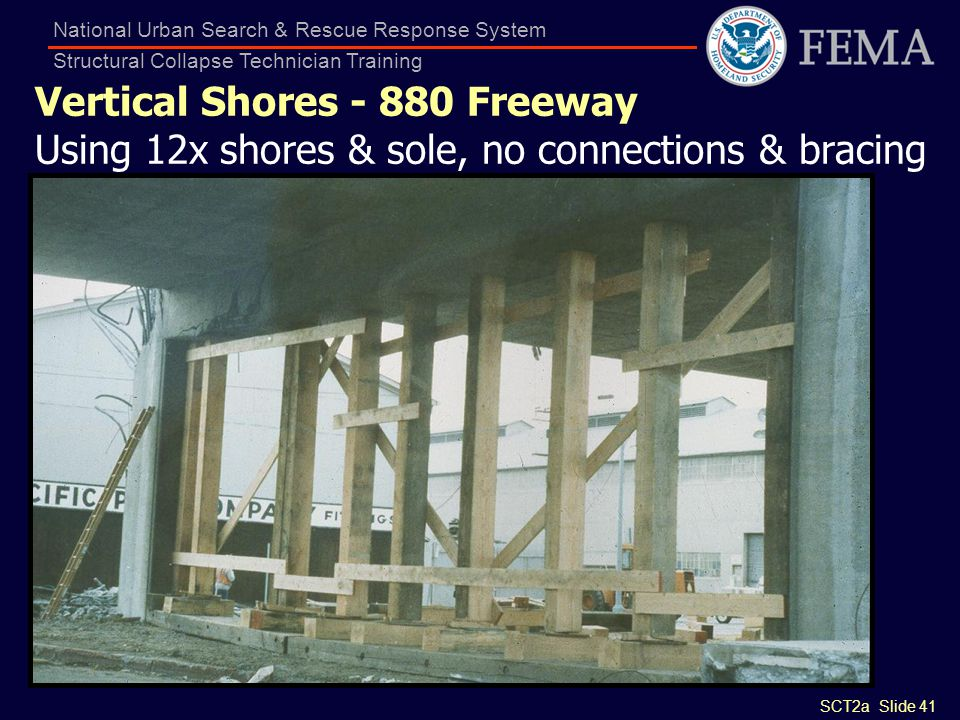 SCT2a Slide 41 National Urban Search & Rescue Response System Structural Collapse Technician Training Vertical Shores - 880 Freeway Using 12x shores &