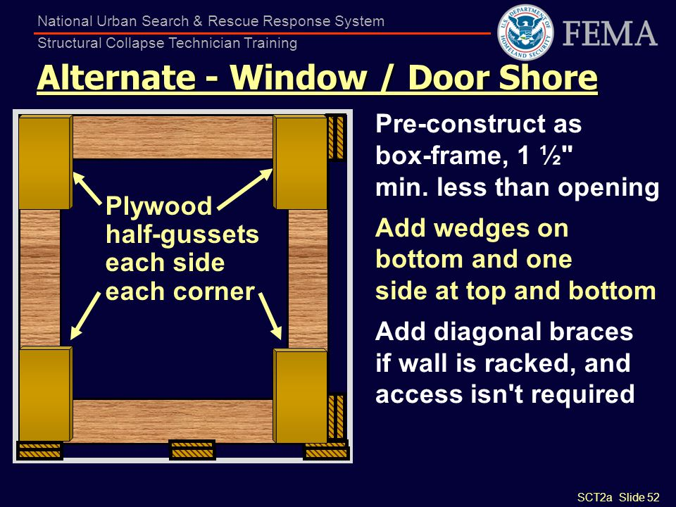 SCT2a Slide 52 National Urban Search & Rescue Response System Structural Collapse Technician Training Alternate - Window / Door Shore Pre-construct as