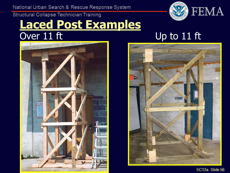SCT2a Slide 56 National Urban Search & Rescue Response System Structural Collapse Technician Training Laced Post Examples Over 11 ft Up to 11 ft
