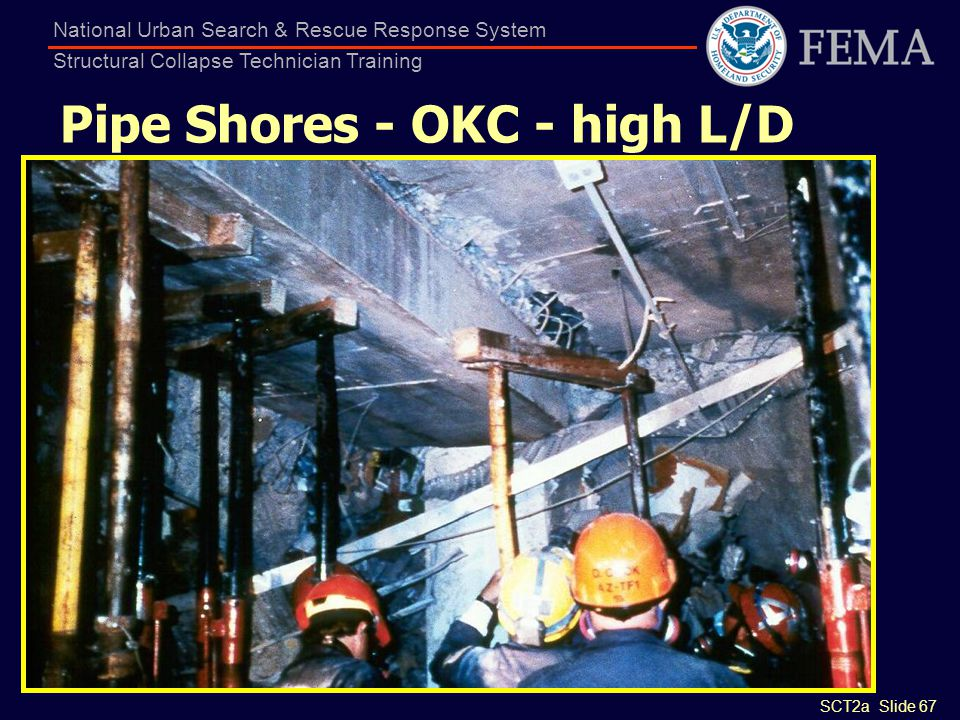 SCT2a Slide 67 National Urban Search & Rescue Response System Structural Collapse Technician Training Pipe Shores - OKC - high L/D