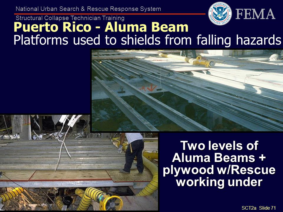 SCT2a Slide 71 National Urban Search & Rescue Response System Structural Collapse Technician Training Puerto Rico - Aluma Beam Platforms used to shiel