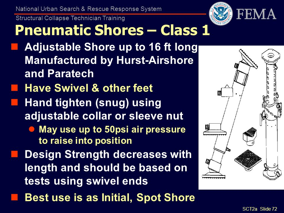 SCT2a Slide 72 National Urban Search & Rescue Response System Structural Collapse Technician Training Pneumatic Shores – Class 1 Adjustable Shore up t