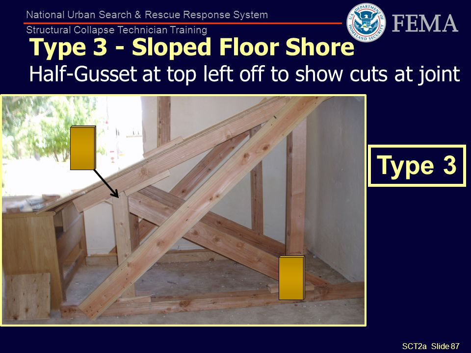 SCT2a Slide 87 National Urban Search & Rescue Response System Structural Collapse Technician Training Type 3 - Sloped Floor Shore Half-Gusset at top l