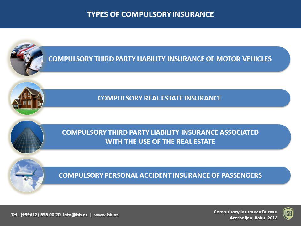 Compulsory Insurance Bureau Compulsory Insurance Bureau Azerbaijan, Baku 2012 Tel: (+99412) 595 00 20 info@isb.az   www.isb.az TYPES OF COMPULSORY INSURANCE COMPULSORY PERSONAL ACCIDENT INSURANCE OF PASSENGERS COMPULSORY REAL ESTATE INSURANCE COMPULSORY THIRD PARTY LIABILITY INSURANCE ASSOCIATED WITH THE USE OF THE REAL ESTATE COMPULSORY THIRD PARTY LIABILITY INSURANCE ASSOCIATED WITH THE USE OF THE REAL ESTATE COMPULSORY THIRD PARTY LIABILITY INSURANCE OF MOTOR VEHICLES