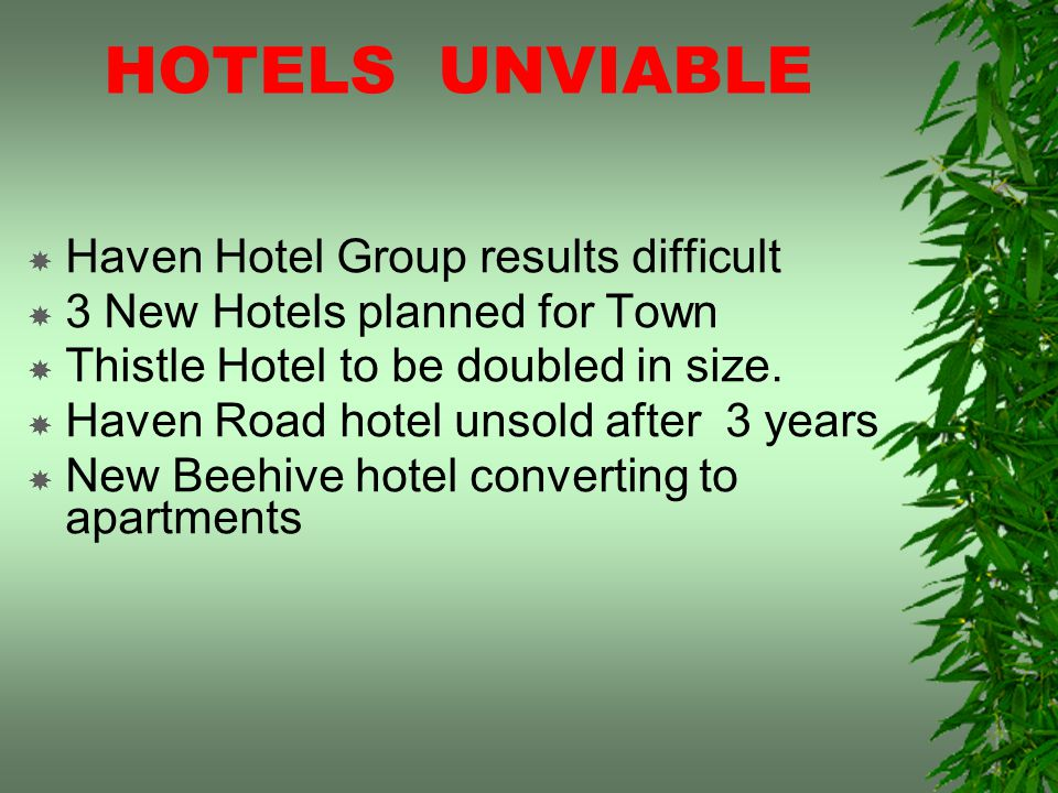 HOTELS UNVIABLE Haven Hotel Group results difficult 3 New Hotels planned for Town Thistle Hotel to be doubled in size.