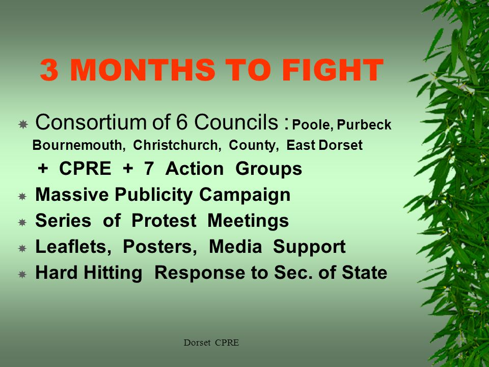 Dorset CPRE 3 MONTHS TO FIGHT Consortium of 6 Councils : Poole, Purbeck Bournemouth, Christchurch, County, East Dorset + CPRE + 7 Action Groups Massive Publicity Campaign Series of Protest Meetings Leaflets, Posters, Media Support Hard Hitting Response to Sec.