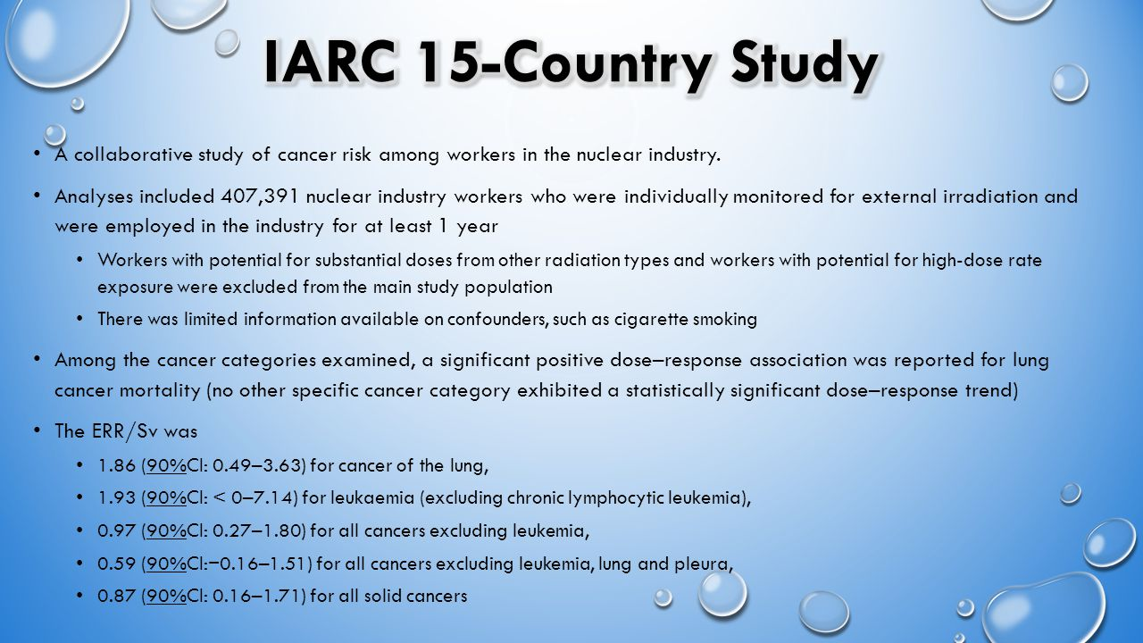 A collaborative study of cancer risk among workers in the nuclear industry. Analyses included 407,391 nuclear industry workers who were individually m