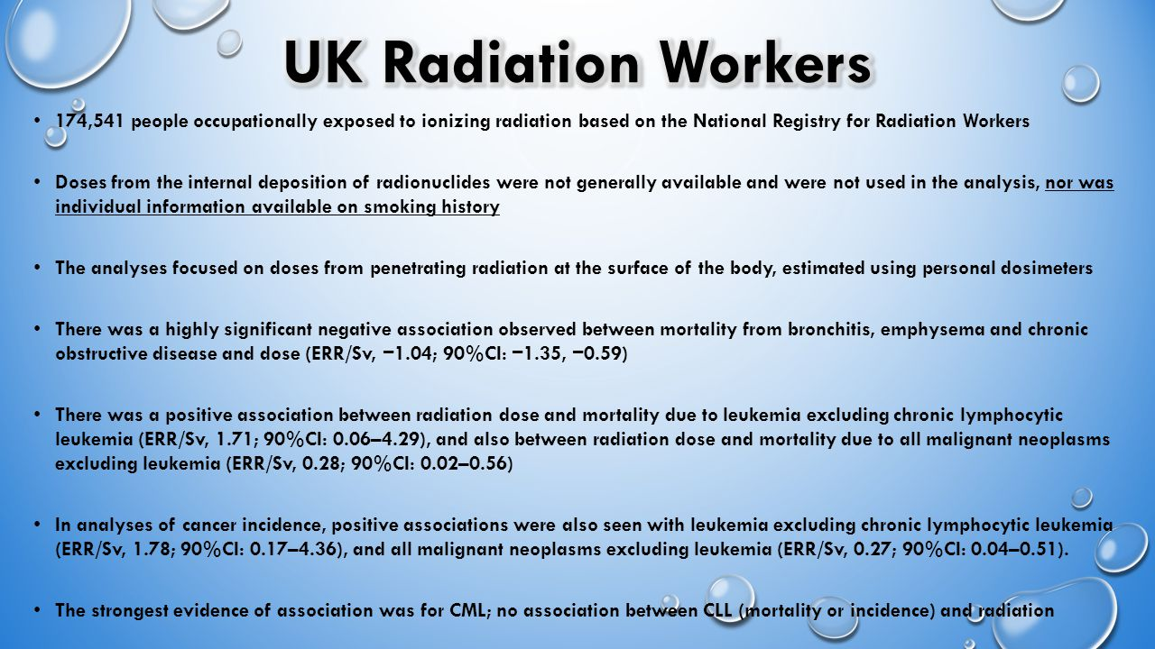 174,541 people occupationally exposed to ionizing radiation based on the National Registry for Radiation Workers Doses from the internal deposition of