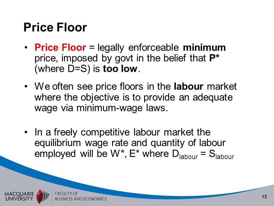 13 Price Floor Price Floor = legally enforceable minimum price, imposed by govt in the belief that P* (where D=S) is too low. We often see price floor
