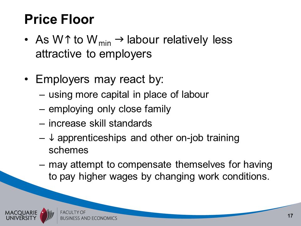 17 Price Floor As W to W min labour relatively less attractive to employers Employers may react by: –using more capital in place of labour –employing