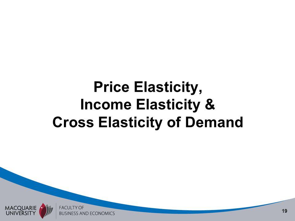 19 Price Elasticity, Income Elasticity & Cross Elasticity of Demand