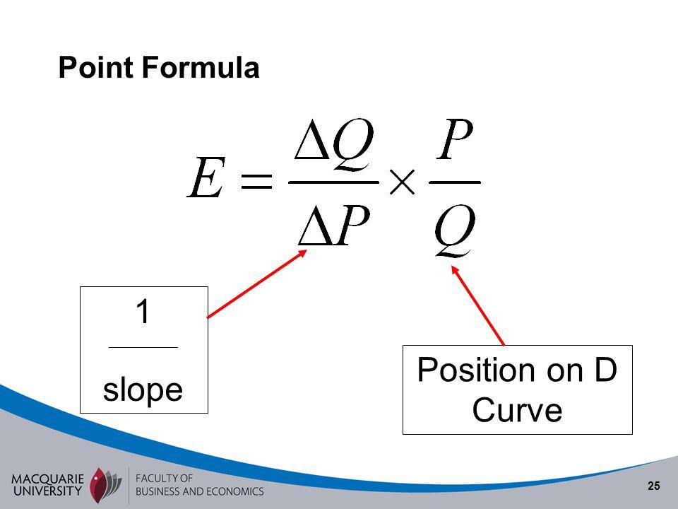 25 Point Formula 1 ______________ slope Position on D Curve